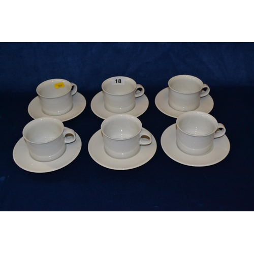 18 - SIX PLAIN WHITE ROYAL COPENHAGEN COFFEE MUGS AND SAUCERS...