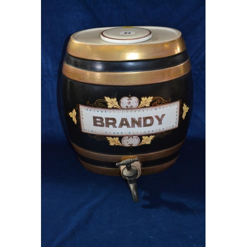 27 - VICTORIAN CHINA BRANDY BARREL BLACK GROUND WITH GILT BANDS, BRASS TAP...