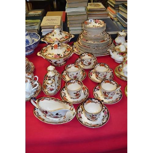 48 - MASON'S IRONSTONE TEA AND DINNER SERVICE MANDALAY DESIGN; 46 PIECES...