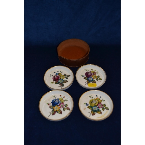 51 - 4 ROYAL WORCESTER HAND PAINTED COASTERS DECORATED FLOWERS...