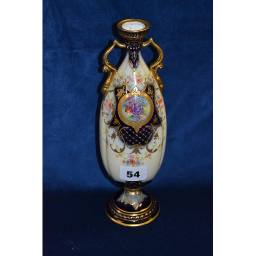 54 - 24cm, VELSTEDT PORCELAIN TWO HANDLED VASE WITH CARTOUCHE HAND PAINTED FRUIT, GOLD AND FLORAL DECORAT...