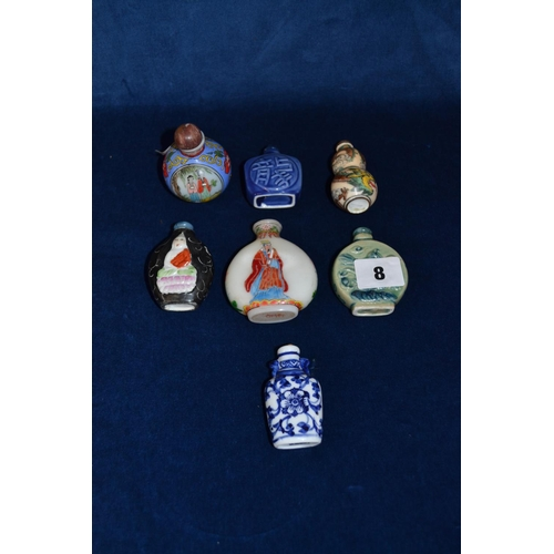 8 - 7 VARIOUS CHINESE PORCELAIN SCENT BOTTLES...
