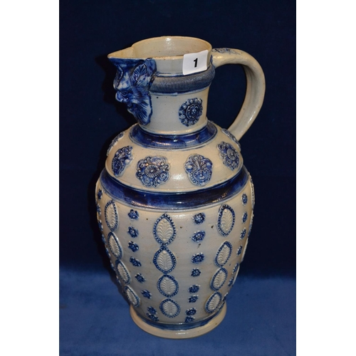 1 - METTLACH STYLE STONEWARE JUG DECORATED WITH ACANTHUS PANELS, MASK SPOUT, 36CM...