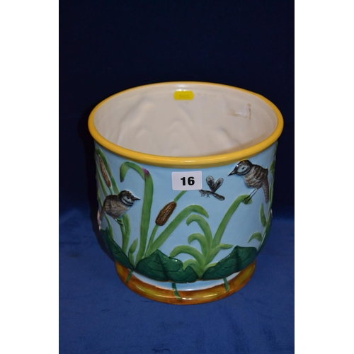 16 - MAJOLICA JARDINIERE DECORATED BIRDS, INSECTS AND BULLRUSHES...