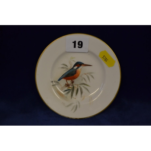 19 - ROYAL WORCESTER HAND PAINTED DISH DEPICTING KINGFISHER...