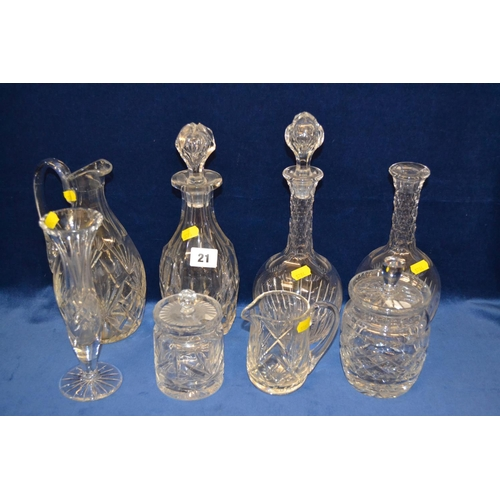21 - 3 CUT GLASS DECANTERS, 2 JUGS, VASE AND 2 PRESERVE POTS...