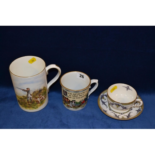 26 - ROYAL CROWN DERBY BONE CHINA TANKARD DECORATED GROUSE SHOOTING, WORCESTER BIRTHDAY MUG, WORCESTER RO...