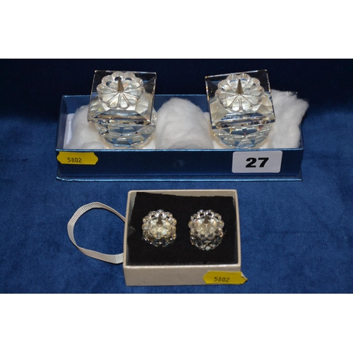 27 - 2 PAIRS OF SWAROVSKI CRYSTAL CANDLE HOLDERS...