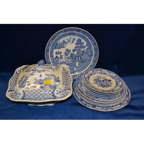 3 - NINE 19TH CENTURY MASON'S BLUE AND WHITE IRONSTONE PLATES, WEDGWOOD