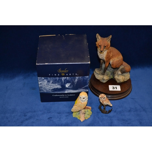 31 - BORDER FINE ARTS FOX AND 2 OTHER OWL FIGURES...