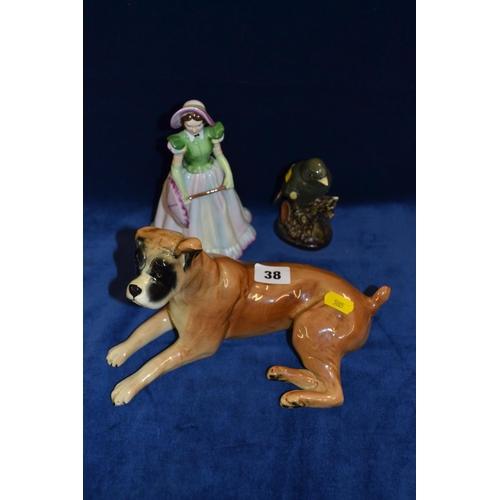 38 - TRENTHAM BOXER DOG, BARMOUTH BONE CHINA GREENFINCH AND RADNER BONE CHINA FIGURINE