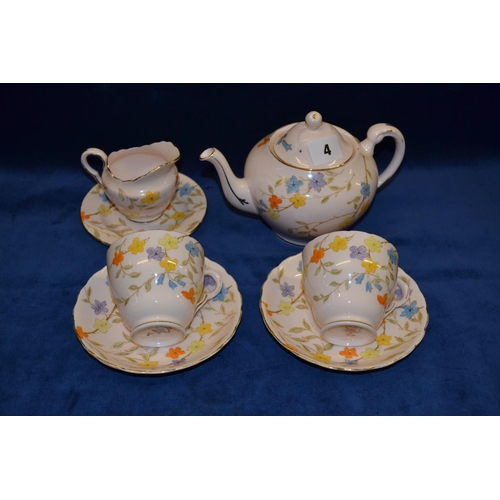 4 - TUSCAN CHINA DUET SERVICE WITH FLORAL DESIGN DECORATION...