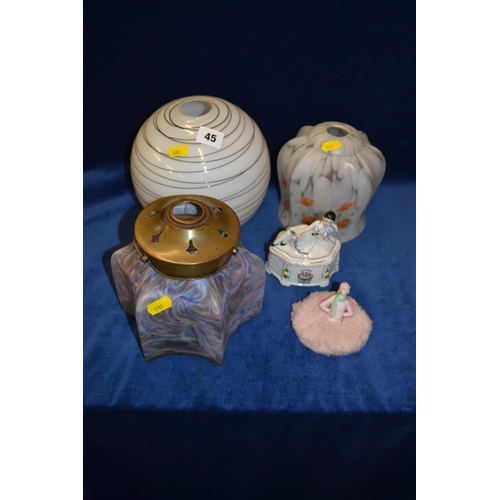 45 - 3 GLASS SHADES, SOUTHPORT SOUVENIR TRINKET BOX AND PORCELAIN LADY POWDER PUFF...