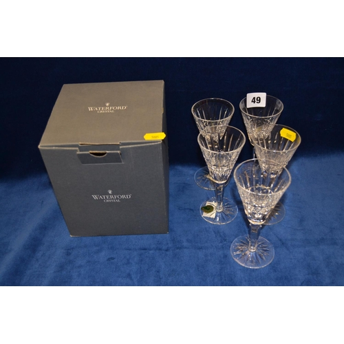 49 - FIVE WATERFORD CRYSTAL CUT GLASS SHERRY GLASSES...