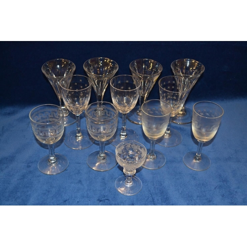 50 - TWELVE VARIOUS 19TH CENTURY AND LATER GLASSES...