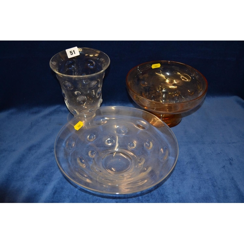 51 - TWO THOMAS WEBB BULLSEYE CIRCULAR GLASS PEDESTAL BOWLS AND ONE VASE...