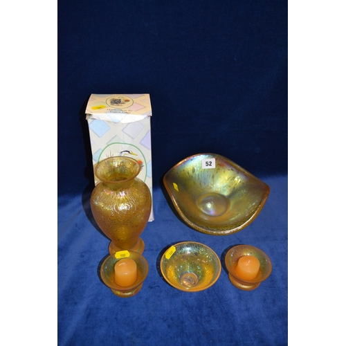 52 - HERON IRRIDESCENT GLASS OVIFORM VASE, SHAPED DISH AND 3 CANDLE HOLDERS...