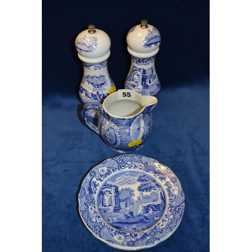 55 - PAIR OF BLUE AND WHITE PEPPERMILLS, SPODE JUG AND 2 SPODE ITALIAN PLATES...