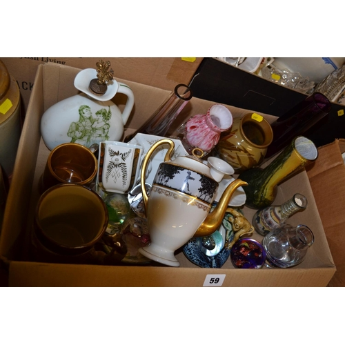 59 - HAVILAND LIMOGES PORCELAIN FLASK, GLASS PAPERWEIGHTS, DENBY TANKARD, ETC...