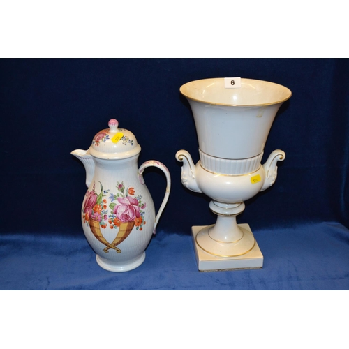 6 - WHITE CHINA TABLE URN WITH GILT DECORATION, 34CM AND HOT WATER JUG DECORATED FLOWERS, 29CM...