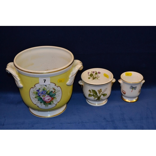 7 - VISTA ALEGRE 2 HANDLED CACHE POT LEMON GROUND WITH FLORAL PANELS AND TWO SMALL CACHE POTS...