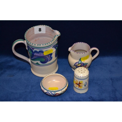 8 - TWO POOLE POTTERY JUGS, PEPPER POT AND SALT DISH...