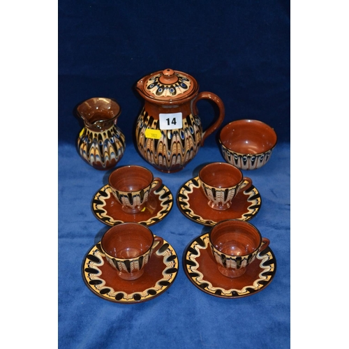 14 - EARTHEN AND SLIP WARE COFFEE SERVICE (12 PIECES)...