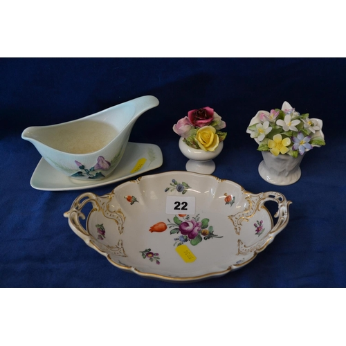 22 - CARLTONWARE SAUCE BOAT AND STAND, 2 BONE CHINA POSIES AND 2 HANDLED DISH...