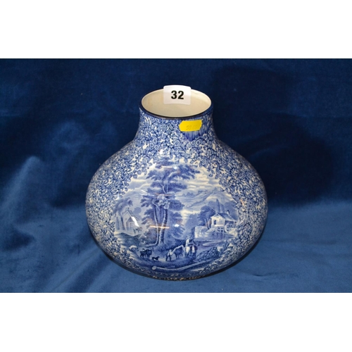32 - FENTON CHINA ONION SHAPED BLUE AND WHITE VASE WITH RURAL PANELS...