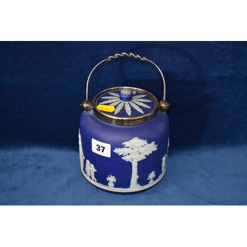 37 - WEDGWOOD BLUE AND WHITE JASPERWARE BISCUIT BARREL WITH SILVER PLATED MOUNTS...