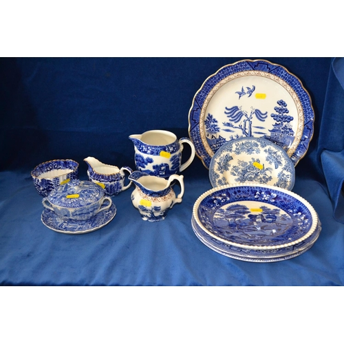 38 - QUANTITY OF BLUE AND WHITE PLATES, JUGS, SUGAR BOWL, SOUP BOWL AND COVER...