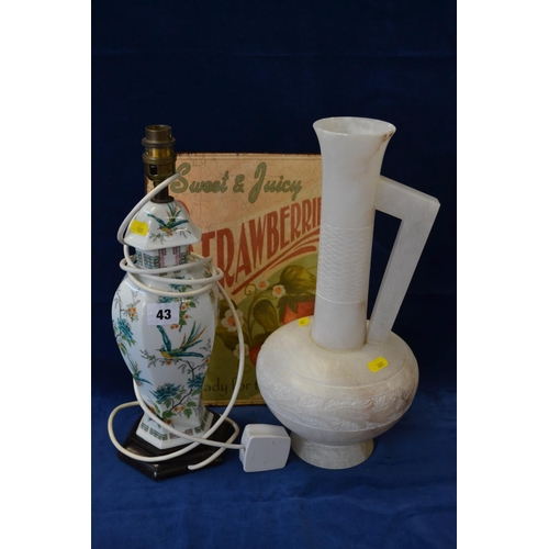 43 - CARVED ALABASTA LONG NECK JUG, STRAWBERRY SIGN AND ORIENTAL TABLE LAMP...