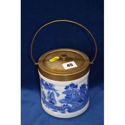 45 - ROYAL WORCESTER BLUE AND WHITE ORIENTAL DESIGN BISCUIT BARREL WITH SILVER PLATED MOUNTS...