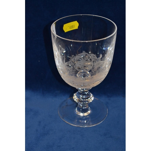 46 - 19TH CENTURY ETCHED GLASS RUMMER DEPICTING