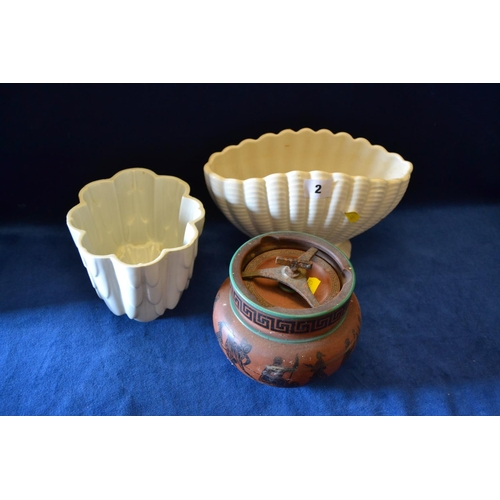 2 - CREAM SYLVAC SHELL SHAPED VASE, 19TH CENTURY WHITE CHINA JELLY MOULD AND TERRACOTTA TOBACCO PRESS...