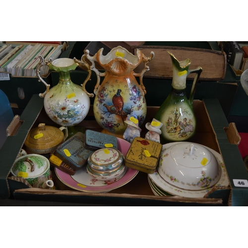 46 - 3 EDWARDIAN DECORATIVE VASES, 2 TEAPOTS, OLD TINS, ETC...