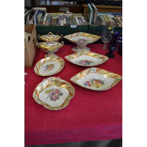 52 - EARLY 19TH CENTURY DERBY DESSERT SERVICE WITH HAND PAINTED FLORAL PANELS AND DECORATIVE BORDERS (9 P...