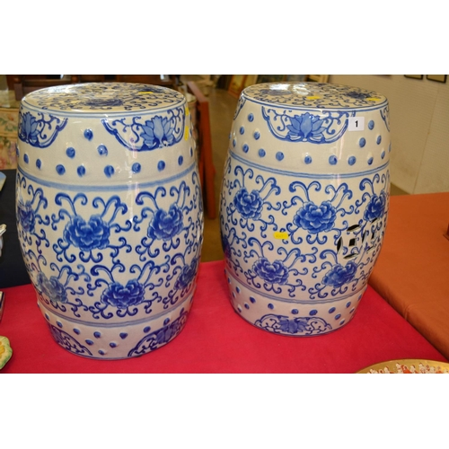 1 - PAIR OF CHINESE BLUE AND WHITE CHINA GARDEN SEATS WITH PEONY DECORATION (45CM HIGH)...