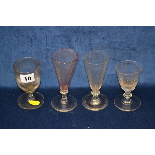 10 - FOUR VARIOUS 18TH AND 19TH CENTURY GLASSES...