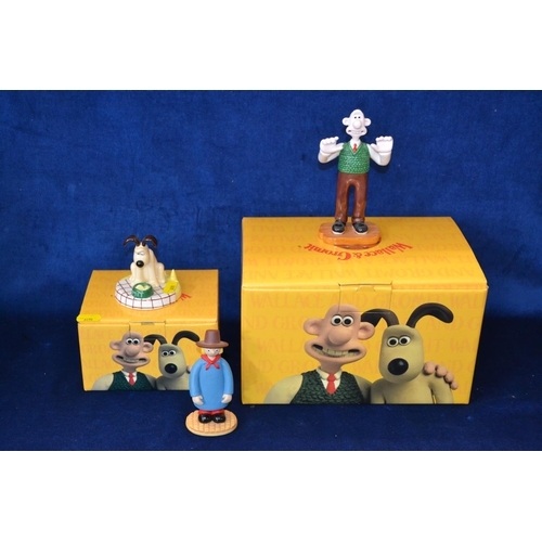 24 - COALPORT CHARACTERS BONE CHINA WALLACE AND GROMIT FIGURES AND WINDY MILLER FIGURE...