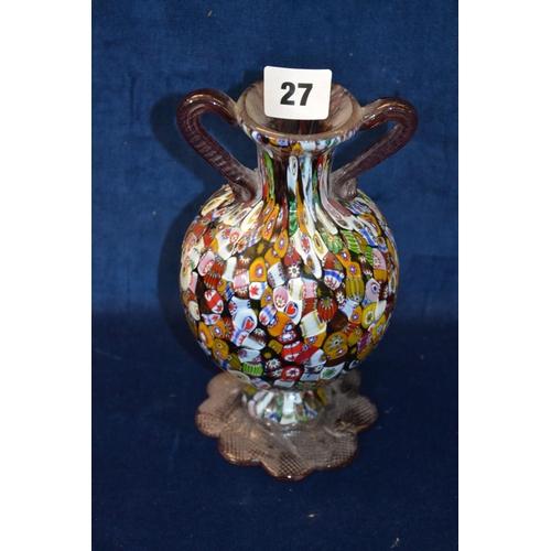 27 - 19CM TWO HANDLED MILLEFIORI MURANO GLASS VASE...
