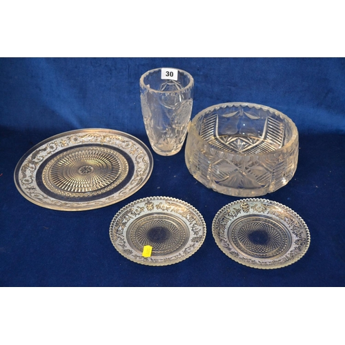 30 - CUT GLASS BOWL, VASE AND 3 PRESSED GLASS PLATES...