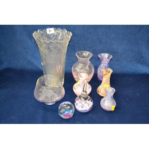 31 - 5 CAITHNESS VASES, 2 GLASS PAPERWEIGHTS, GOBLET/VASE AND PRESSED GLASS FLOWER VASE...