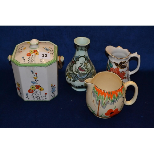 33 - DEVONWARE CHINA BISCUIT BARREL, VILLEROY AND BOCH VASE AND TWO JUGS...
