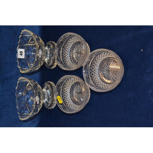 40 - THREE 19TH CENTURY CUT GLASS BOWLS AND PAIR OF URN TABLE SALTS...