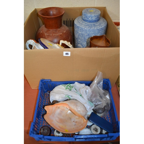 45 - 19TH CENTURY STONEWARE HARVEST JUG, CHINESE BLUE AND WHITE CONTAINER, SHELLS, ETC...