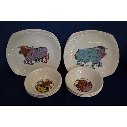 48 - SET OF SIX BEEFEATER DINNER PLATES AND BOWLS...