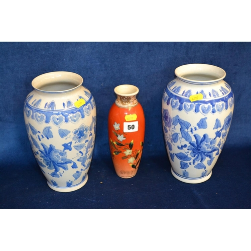 50 - PAIR OF BLUE AND WHITE CHINESE OVIFORM VASES AND ORANGE GROUND AND FLOWERED JAPANESE SATSUMA VASE...