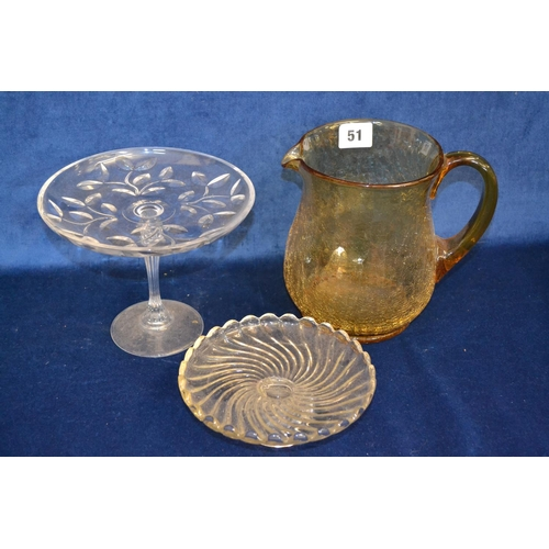51 - AMBER TINTED CRACKLEWARE JUG AND TWO COMPORTS...