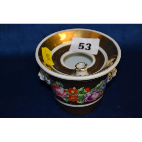 53 - 19TH CENTURY FRENCH PORCELAIN INKWELL WITH GOLD AND FLORAL DECORATION AND LION MASKS...